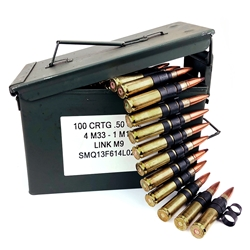 Ammunition, 4&1 Linked M33 Ball With Tracer, 100 Round Box