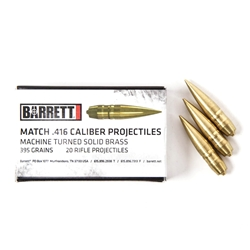 Bullets, Turned Brass VLD, .416, 20 Count