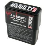 .416 BARRETT AMMUNITION, TURNED BRASS 398 gr SOLID, 10 ROUND BOX