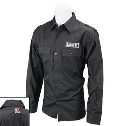 Black Button-up Military Shirt, Mens